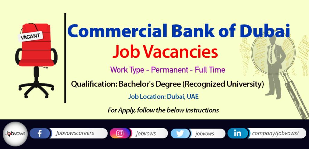 commercial bank of dubai jobs